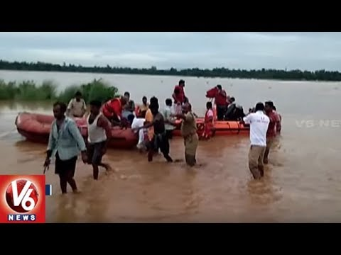 NDRF Team Rescue 52 Labors Trapped in Vamshadhara River | Srikakulam | V6 News