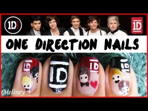 ONE DIRECTION NAIL ART TUTORIAL | 1D BOY BAND KPOP FRENCH TIP NAIL DESIGN