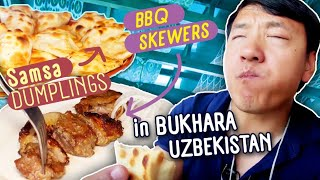 Trying DUMPLINGS (Samsa) & BBQ Skewers in Bukhara Uzbekistan