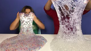 1 GALLON OF CLEAR FISH BOWL BEAD SLIME VS 1 GALLON OF RAINBOW FISH BOWL SLIME - MAKING GIANT SLIMES