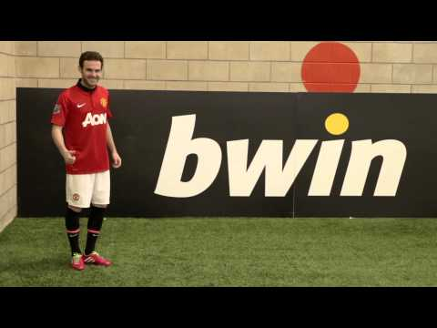 Man Utd's Juan Mata takes on the bwin Corner Kick Challenge