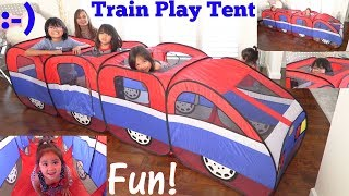 Family Toy Channel: Children's Play Tent Playtime! A Long Train Play Tent Playtime Fun!
