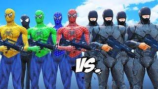 Download Lagu Spider-Man, Green Spiderman, Blue Spiderman, Yellow Spiderman, Black Spiderman VS RoboCop Army Gratis STAFABAND
