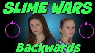 SLIME WARS    MAKING SLIME BACKWARDS CHALLENGE    MAKING SLIME IN REVERSE    Taylor and Vanessa