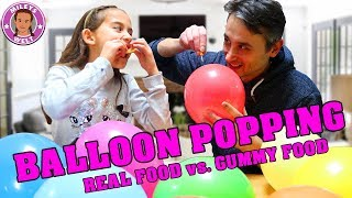 BALLOON POPPING Real Food vs Gummy Food Challenge | Mileys Welt