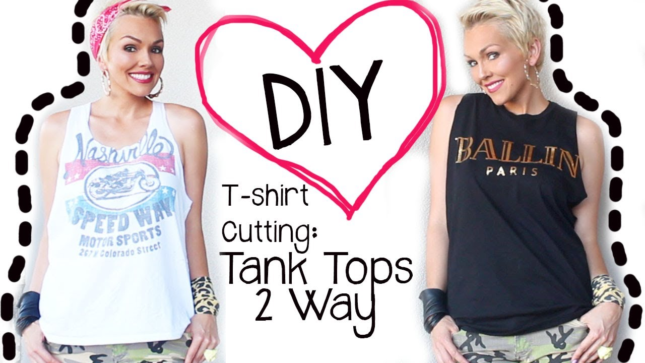 Diy how to cut a t shirt 2 ways into a tank top kandee for How to put a picture on a shirt diy