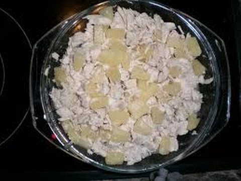 Салат из грибов ананаса и курицы