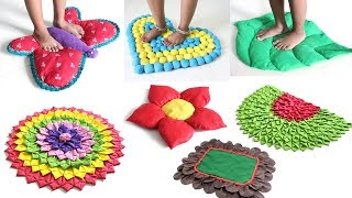 7 CREATIVE DOORMATS IDEAS from OLD SAREE & CLOTHES