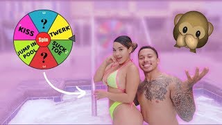 SPIN THE WHEEL CHALLENGE IN HOT TUB!! ** GETS JUICY **