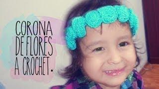DIY: CORONA DE FLORES EN GANCHILLO (FACIL) / CROCHET FLORAL CROWN (EASY) ♥