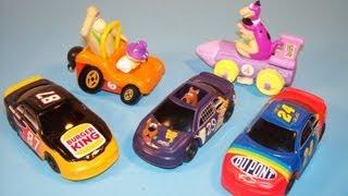 1997 BURGER KING CARTOON NETWORK WACKY RACING TEAM SET OF 5 KIDS MEAL TOY REVIEW