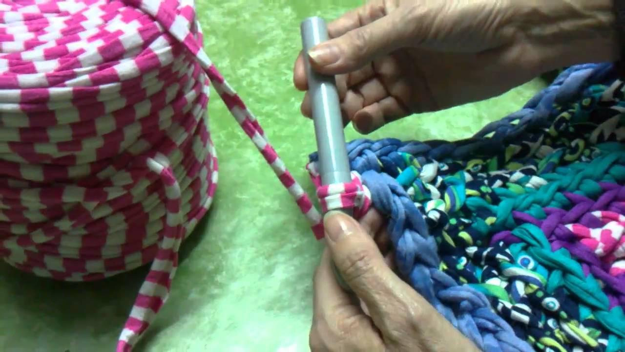 Tutorial como hacer alfombra de trapilho a ganchillo youtube - Como hacer alfombras de nudos ...