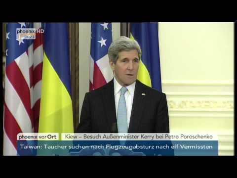Ukraine-Konflikt: PK mit John Kerry und Petro Poroschenko am 05.02.2015