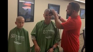 Mother and son shave their heads in support of St. Baldrick's Foundation!