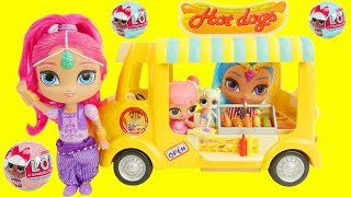 LOL Surprise Dolls Hotdog Stand Truck with Shimmer and Shine Genie Routine, Paw Patrol Baby Skye