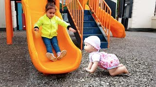 Walking Baby Doll at Playground / Cry Baby Accident on Slide