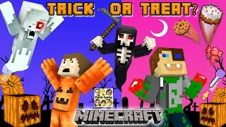 MINECRAFT HALLOWEEN TRICK OR TREAT Candy Run Challenge!?! 🎃 (Grim Reaper Hunt Mini-Game Map NO MODS)