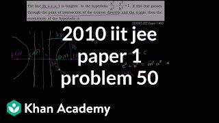 2010 IIT JEE Paper 1 Problem 50 Hyperbola Eccentricity