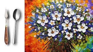 Challenge # 12 | White Flowers Bouquet Acrylic  Palette Knife Painting