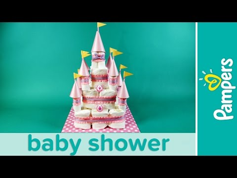 Princess Baby Shower: How to Make a Castle Diaper Cake   Pampers