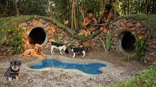 Collect Homeless Dogs and Build 5 Stone Hobbit Dog Houses for Dogs