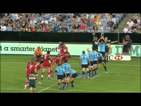 Dave Dennis' try for the Waratahs against the Reds - Dave Dennis Try - Tahs v Reds