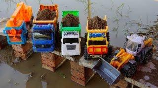Bulldozer Trucks Collision with Dump Truck On the Bridge | Crane Truck vs Super Dump Truck | TOTO TV
