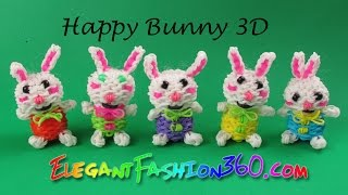 Rainbow Loom Happy Bunny 3D/ Easter Stuffed Animal- How to Loom Bands