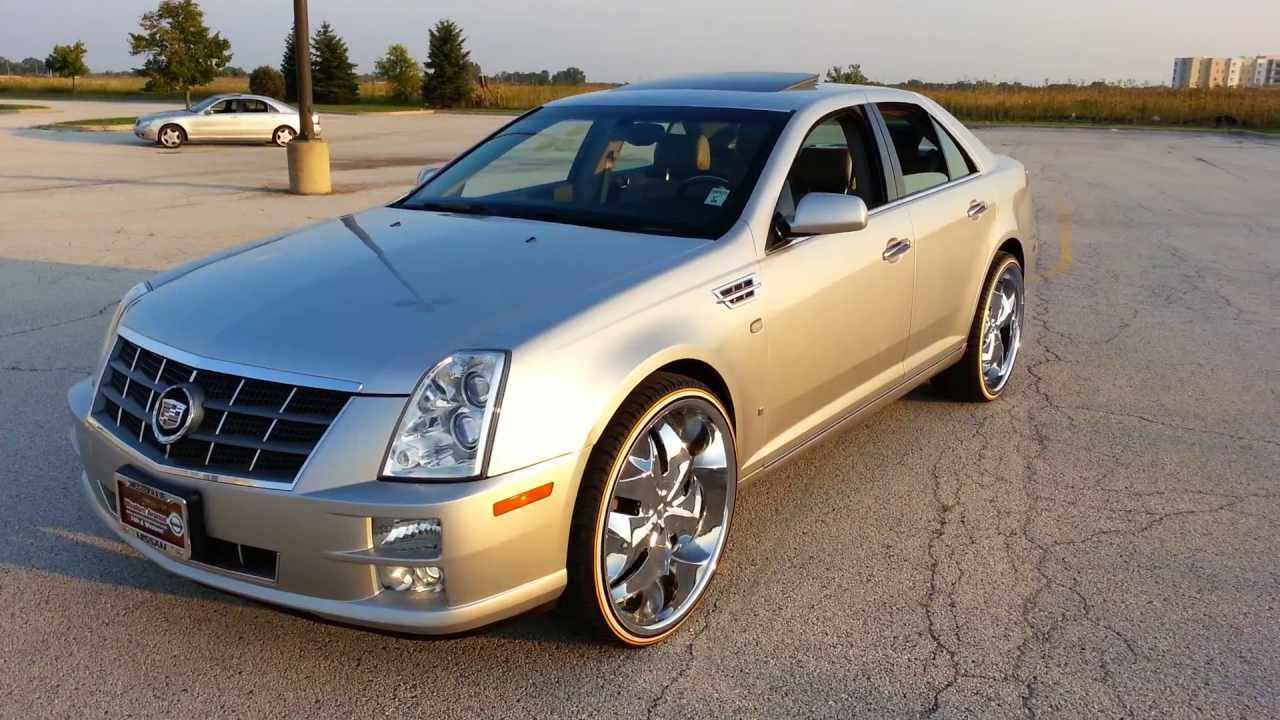 2009 Cadillac Sts On 24s Mustard And Mayo Bogues Check It Out Youtube