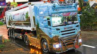 RC MODEL TRUCKS IN ACTION!! RC SCANIA SCHUBERT, RC MAN, RC MB ACTROS, RC US TRUCKS