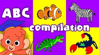 Animal ABC   learn the alphabet A to Z with cartoon animals   ABCD video compilation for kids