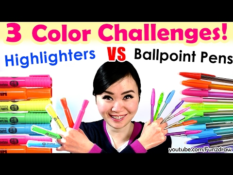 3 Color Challenge: Ballpoint Pen VS Highlighter | NEW Art Challenges