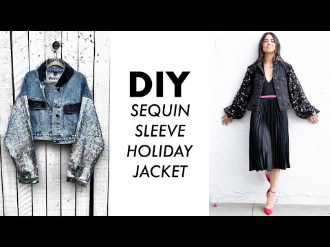 DIY: How To Make a SEQUIN Sleeve Jacket for Holidays!! -By Orly Shani - YouTube
