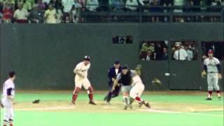 Pete Rose barrels over Ray Fosse