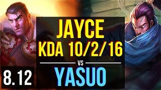 JAYCE vs YASUO (TOP) ~ KDA 10/2/16, Godlike ~ EUW Challenger ~ Patch 8.12
