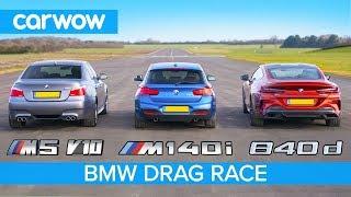 BMW 840d vs M140i vs E60 M5 V10 - DRAG RACE, ROLLING RACE AND BRAKE TEST