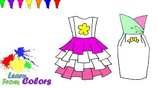 Colouring Dress Drawing For Girls Learn Coloring Pages Videos For Kids Easy