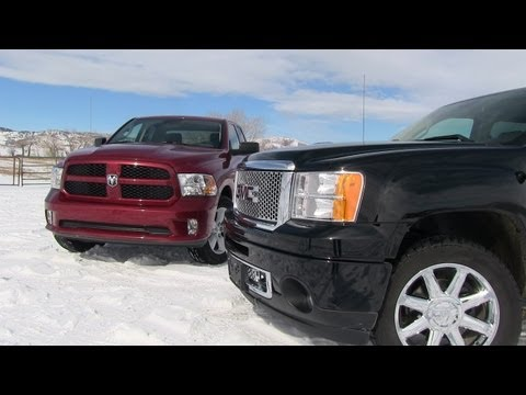 2013 GMC Sierra Denali vs Ram 1500 Pickup 0-60 MPH Mashup Review