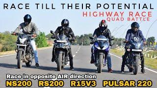 Pulsar RS200 vs Pulsar 220F vs Pulsar NS200 vs Yamaha R15 V3.0 ABS | Race till their potential