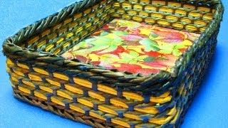 ▬► Плетение из газет прямоугольного дна корзины