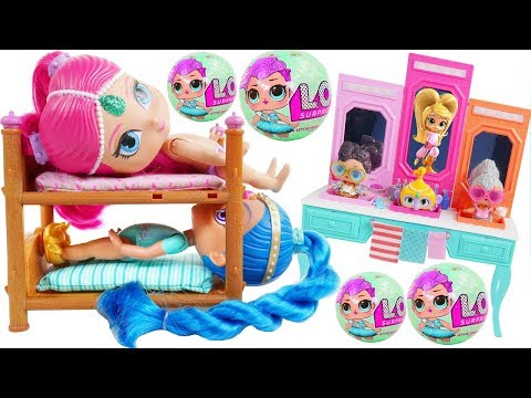 Shimmer and Shine Morning Dolls Bedtime Routine Surprise Bubble Bath Ice Cream Park Disney Princess!