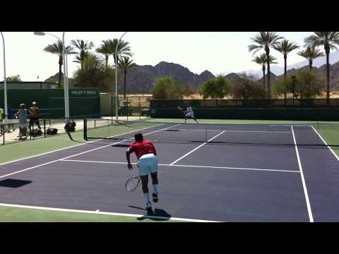 2012 BNP Paribas Open Indian Wells Radek Stepanek Leander Paes Practice 3.11.12