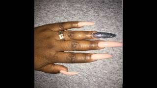 Acrylic overlay over natural long nails