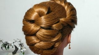 Download Hairstyle for long hair with twist braid. Updo tutorial 3Gp Mp4