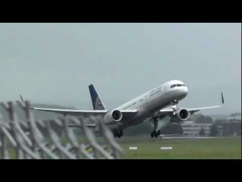 WET TAKEOFF: United Airlines Boeing 757-224 from Shannon Airport