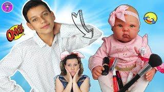 Makeup Challenge 😜 JJ y la bebe REBORN Sofía maquillan a Bruno