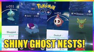 BEST SHINY GHOST NESTS in Pokemon Go! GASTLY - MISDREAVUS - DUSKULL & SHUPPET