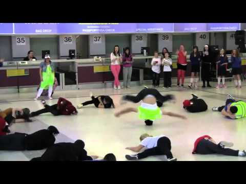 Ryanair flash mob dancers at Manchester Airport