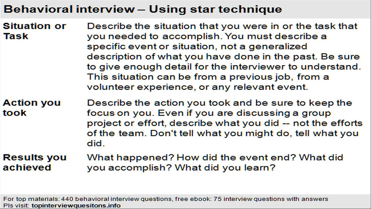 star interview questions and answers examples