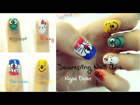 Cartoon Nai Art - Doremon Pooh Kitty Keroppi - Stamping Nail Art - Ngọc Bube video